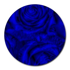 Gorgeous Roses,deep Blue Round Mousepads by MoreColorsinLife