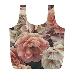 Great Garden Roses, Vintage Look  Full Print Recycle Bags (l)  by MoreColorsinLife