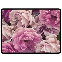 Great Garden Roses Pink Fleece Blanket (Large)  by MoreColorsinLife