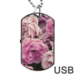 Great Garden Roses Pink Dog Tag Usb Flash (two Sides)  by MoreColorsinLife