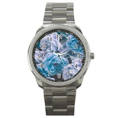 Great Garden Roses Blue Sport Metal Watches by MoreColorsinLife