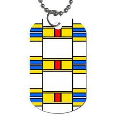 Colorful Squares And Rectangles Pattern Dog Tag (two Sides)