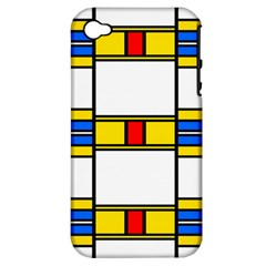 Colorful Squares And Rectangles Pattern Apple Iphone 4/4s Hardshell Case (pc+silicone) by LalyLauraFLM
