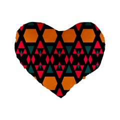 Rhombus And Other Shapes Pattern Standard 16  Premium Heart Shape Cushion  by LalyLauraFLM