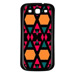 Rhombus And Other Shapes Pattern Samsung Galaxy S3 Back Case (black) by LalyLauraFLM