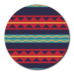 Rhombus And Waves Chains Pattern Round Mousepad by LalyLauraFLM