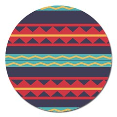 Rhombus And Waves Chains Pattern Magnet 5  (round) by LalyLauraFLM