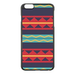 Rhombus and waves chains pattern Apple iPhone 6 Plus Black Enamel Case by LalyLauraFLM