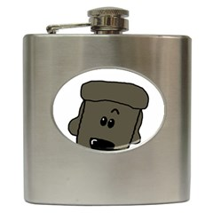Peeping Silver  Poodle Hip Flask (6 oz) by TailWags