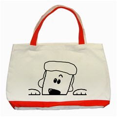 Peeping White Poodle Classic Tote Bag (Red)  by TailWags