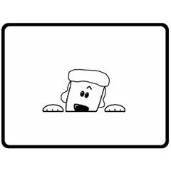 Peeping White Poodle Double Sided Fleece Blanket (Large)
