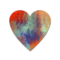 Abstract In Green, Orange, And Blue Heart Magnet by theunrulyartist
