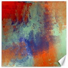 Abstract In Green, Orange, And Blue Canvas 20  X 20   by theunrulyartist