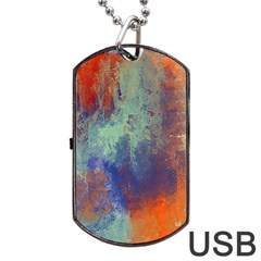 Abstract In Green, Orange, And Blue Dog Tag Usb Flash (one Side) by theunrulyartist