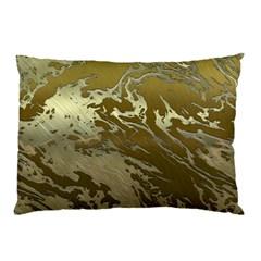 Metal Art Swirl Golden Pillow Cases by MoreColorsinLife