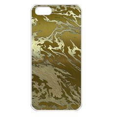 Metal Art Swirl Golden Apple Iphone 5 Seamless Case (white) by MoreColorsinLife