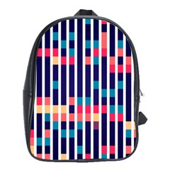 Stripes And Rectangles Pattern School Bag (xl) by LalyLauraFLM