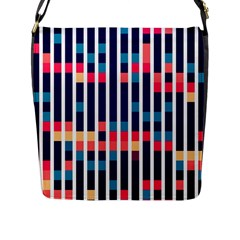 Stripes And Rectangles Pattern Flap Closure Messenger Bag (l) by LalyLauraFLM