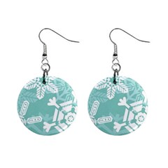 Snowflakes 3  Mini Button Earrings by theimagezone