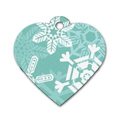 Snowflakes 3  Dog Tag Heart (two Sides) by theimagezone