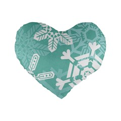 Snowflakes 3  Standard 16  Premium Flano Heart Shape Cushions by theimagezone