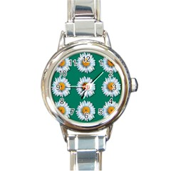Daisy Pattern  Round Italian Charm Watches by theimagezone