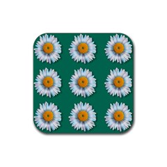 Daisy Pattern  Rubber Square Coaster (4 Pack)  by theimagezone