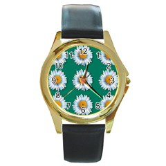 Daisy Pattern  Round Gold Metal Watches by theimagezone