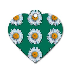 Daisy Pattern  Dog Tag Heart (one Side) by theimagezone