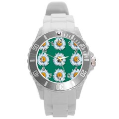 Daisy Pattern  Round Plastic Sport Watch (l) by theimagezone