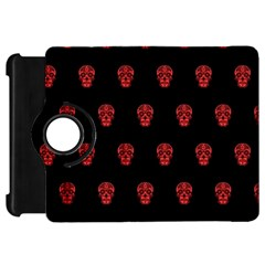 Skull Pattern Red Kindle Fire Hd Flip 360 Case by MoreColorsinLife