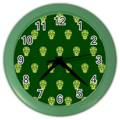 Skull Pattern Green Color Wall Clocks by MoreColorsinLife