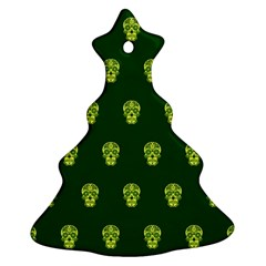 Skull Pattern Green Christmas Tree Ornament (2 Sides) by MoreColorsinLife