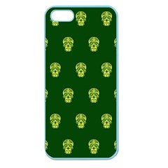 Skull Pattern Green Apple Seamless Iphone 5 Case (color) by MoreColorsinLife
