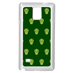 Skull Pattern Green Samsung Galaxy Note 4 Case (white) by MoreColorsinLife