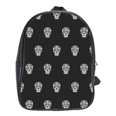 Skull Pattern Bw  School Bags (xl)  by MoreColorsinLife