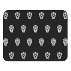 Skull Pattern Bw  Double Sided Flano Blanket (large)  by MoreColorsinLife