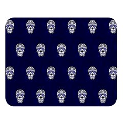 Skull Pattern Blue  Double Sided Flano Blanket (Large)