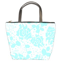 Floral Wallpaper Aqua Bucket Bags by ImpressiveMoments