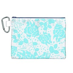 Floral Wallpaper Aqua Canvas Cosmetic Bag (xl)