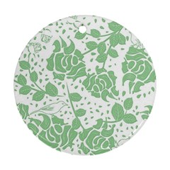 Floral Wallpaper Green Round Ornament (two Sides)  by ImpressiveMoments