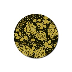 Floral Wallpaper Forest Rubber Round Coaster (4 Pack)  by ImpressiveMoments