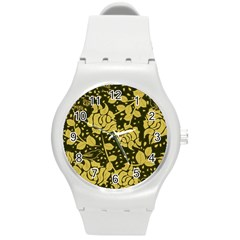 Floral Wallpaper Forest Round Plastic Sport Watch (m) by ImpressiveMoments