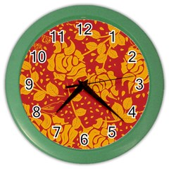 Floral Wallpaper Hot Red Color Wall Clocks by ImpressiveMoments