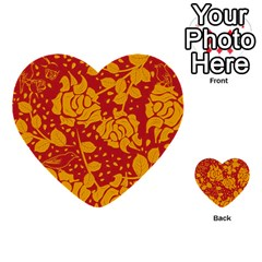 Floral Wallpaper Hot Red Multi Purpose Cards (heart)  by ImpressiveMoments