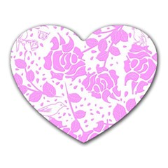 Floral Wallpaper Pink Heart Mousepads by ImpressiveMoments
