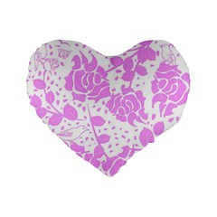 Floral Wallpaper Pink Standard 16  Premium Flano Heart Shape Cushions by ImpressiveMoments