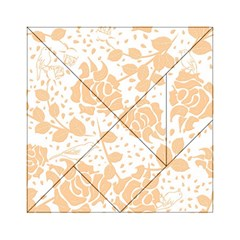 Floral Wallpaper Peach Acrylic Tangram Puzzle (6  x 6 ) by ImpressiveMoments