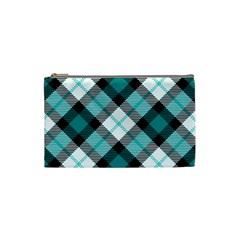 Smart Plaid Teal Cosmetic Bag (Small)  by ImpressiveMoments