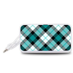 Smart Plaid Teal Portable Speaker (White)  by ImpressiveMoments